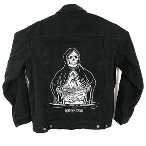 Sketchy Tank Death Reaper Denim Jacket Embroidered